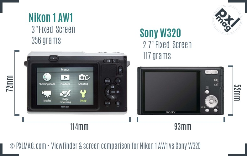 Nikon 1 AW1 vs Sony W320 Screen and Viewfinder comparison