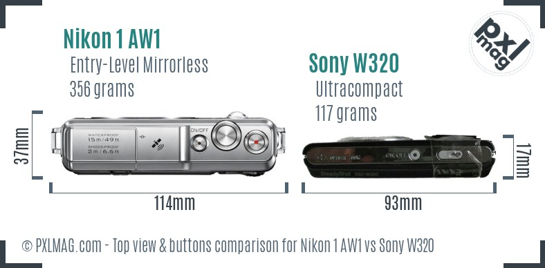 Nikon 1 AW1 vs Sony W320 top view buttons comparison