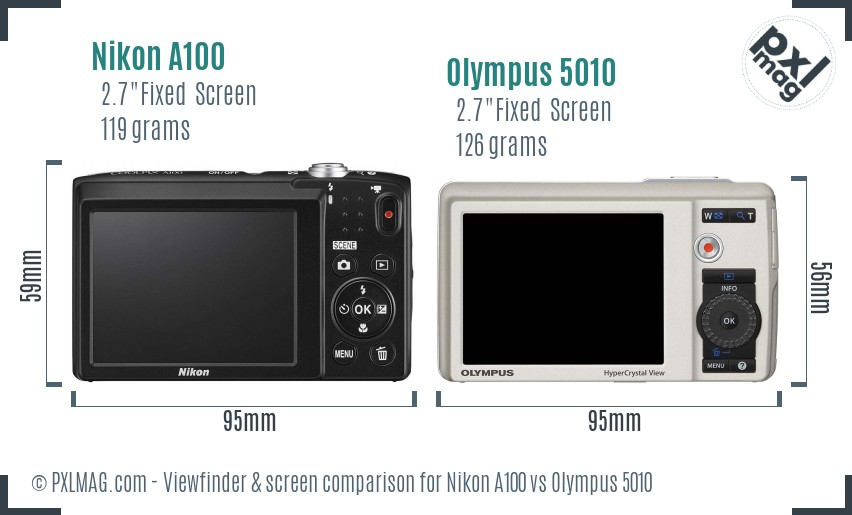 Nikon A100 vs Olympus 5010 Screen and Viewfinder comparison