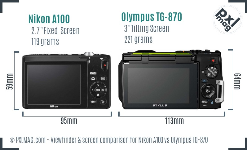 Nikon A100 vs Olympus TG-870 Screen and Viewfinder comparison