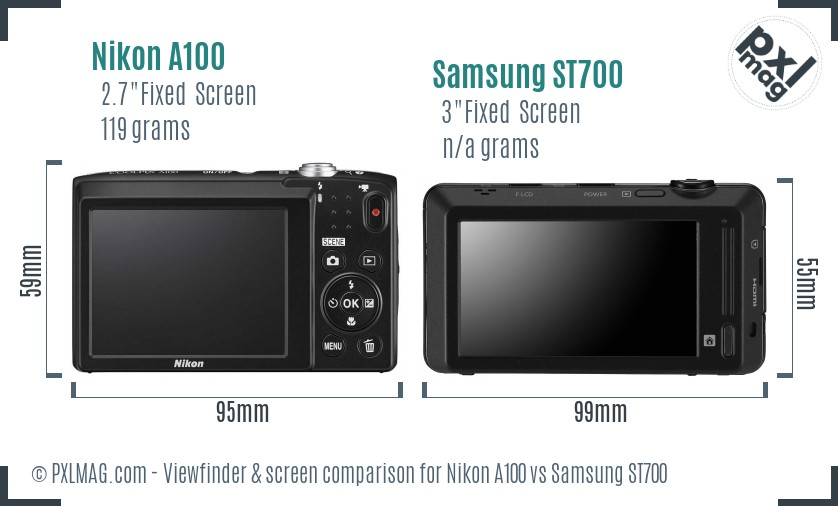 Nikon A100 vs Samsung ST700 Screen and Viewfinder comparison