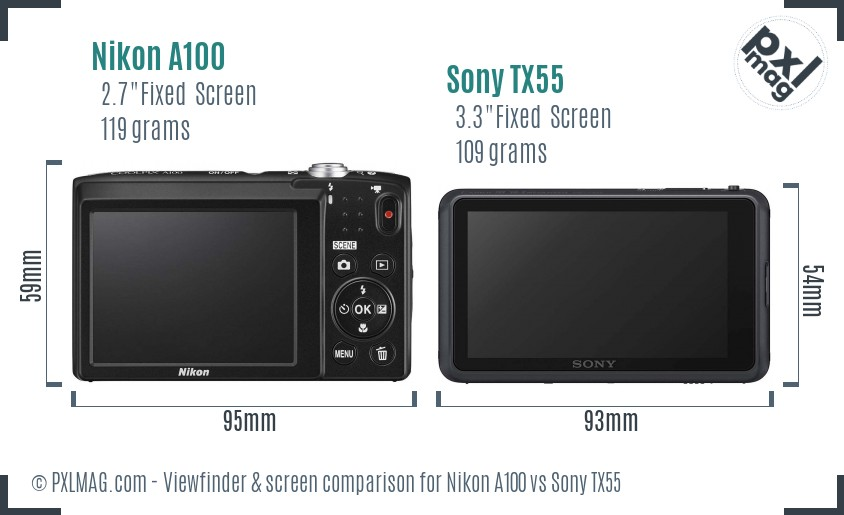Nikon A100 vs Sony TX55 Screen and Viewfinder comparison