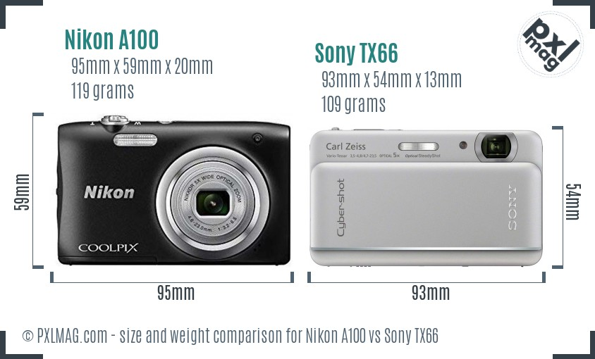 Nikon A100 vs Sony TX66 size comparison