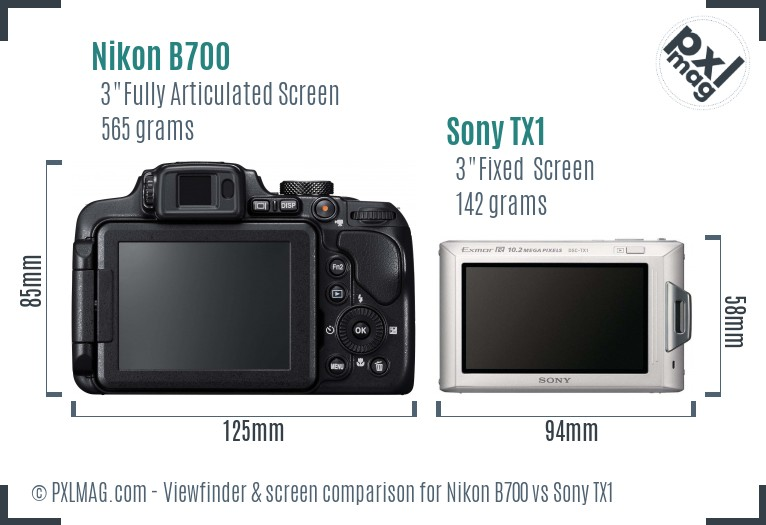 Nikon B700 vs Sony TX1 Screen and Viewfinder comparison