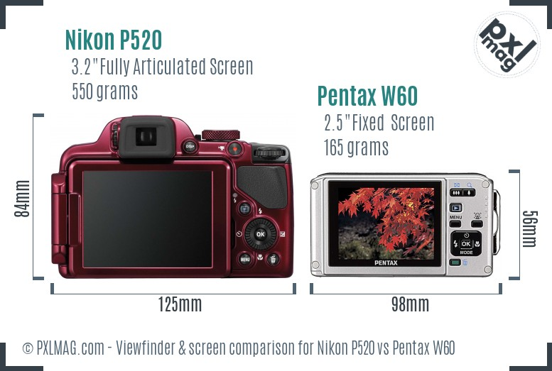 Nikon P520 vs Pentax W60 Screen and Viewfinder comparison
