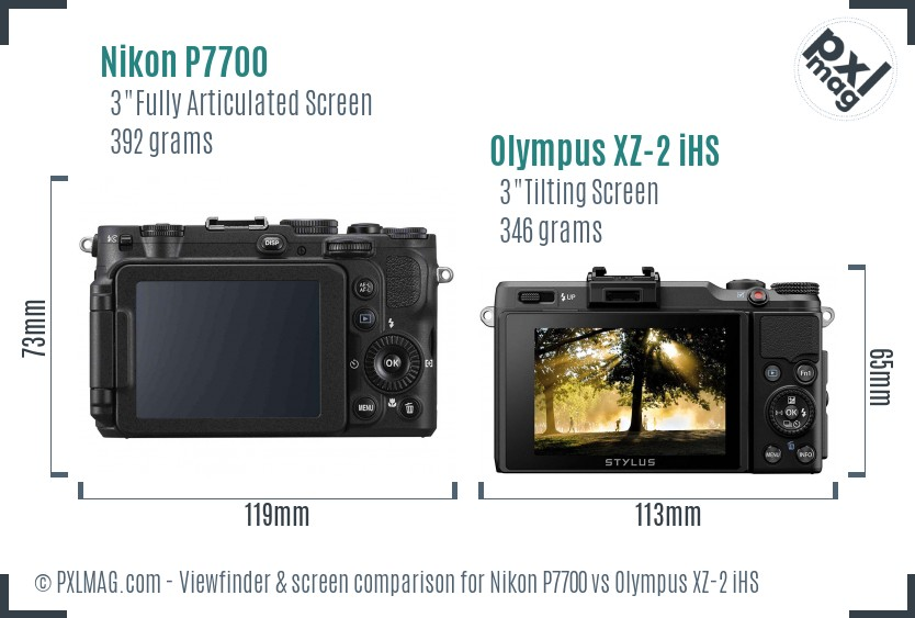 Nikon P7700 vs Olympus XZ-2 iHS Screen and Viewfinder comparison