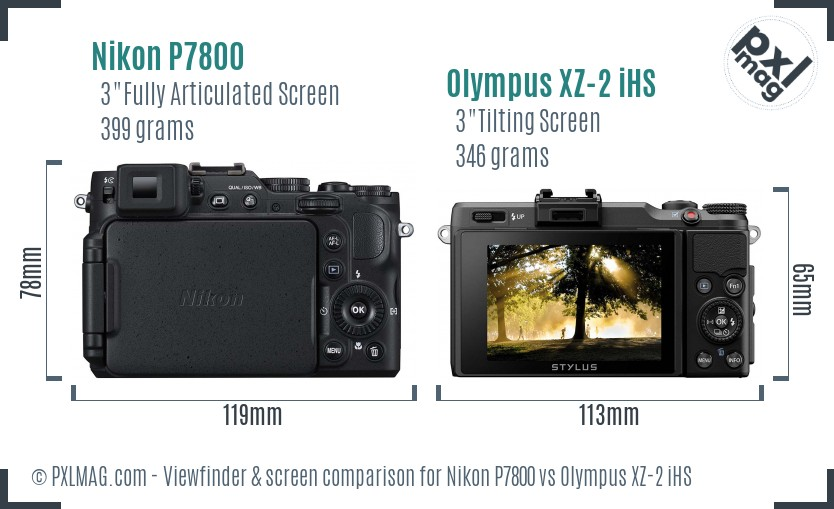 Nikon P7800 vs Olympus XZ-2 iHS Screen and Viewfinder comparison