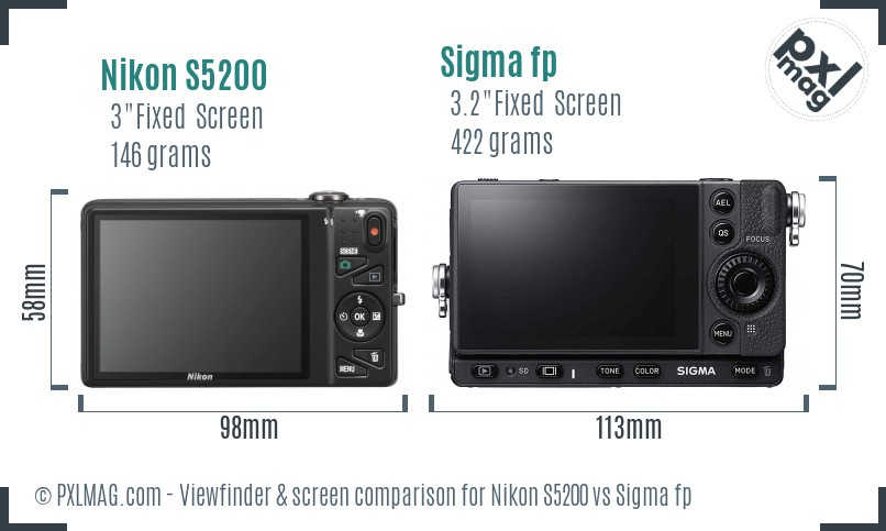 Nikon S5200 vs Sigma fp Screen and Viewfinder comparison
