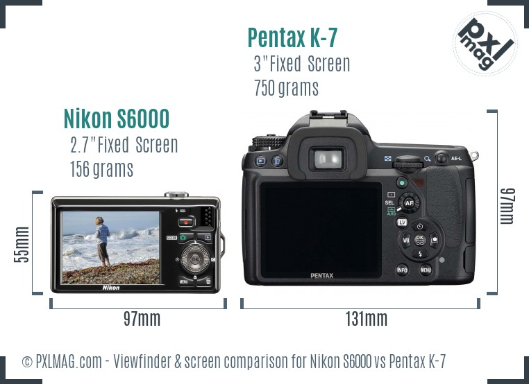 Nikon S6000 vs Pentax K-7 Screen and Viewfinder comparison