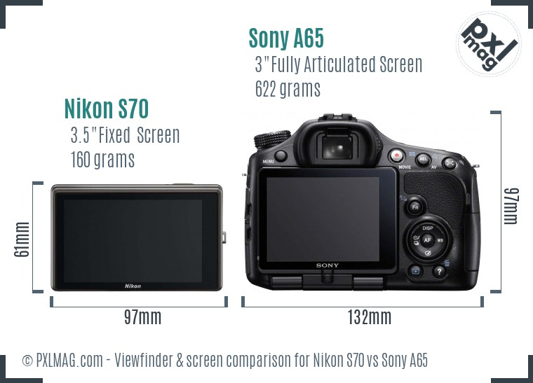 Nikon S70 vs Sony A65 Screen and Viewfinder comparison