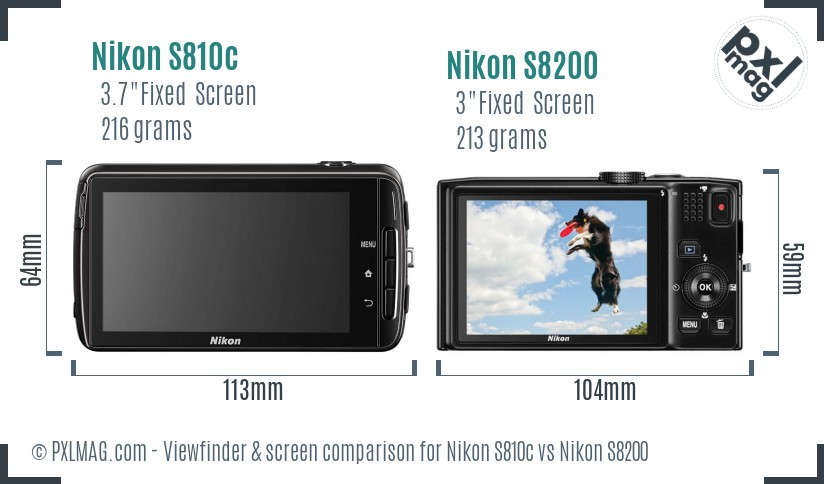 Nikon S810c vs Nikon S8200 Screen and Viewfinder comparison