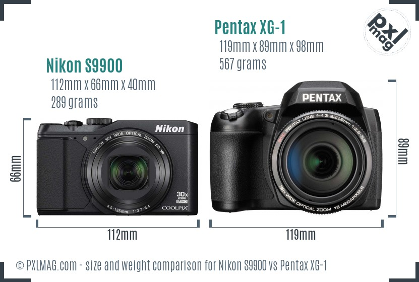 Nikon S9900 vs Pentax XG-1 size comparison