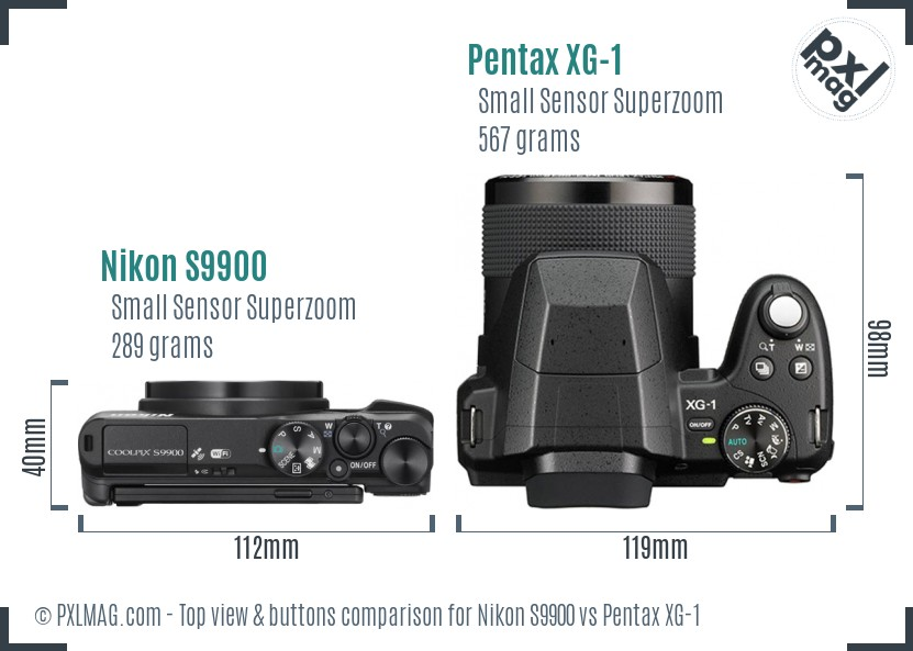 Nikon S9900 vs Pentax XG-1 top view buttons comparison