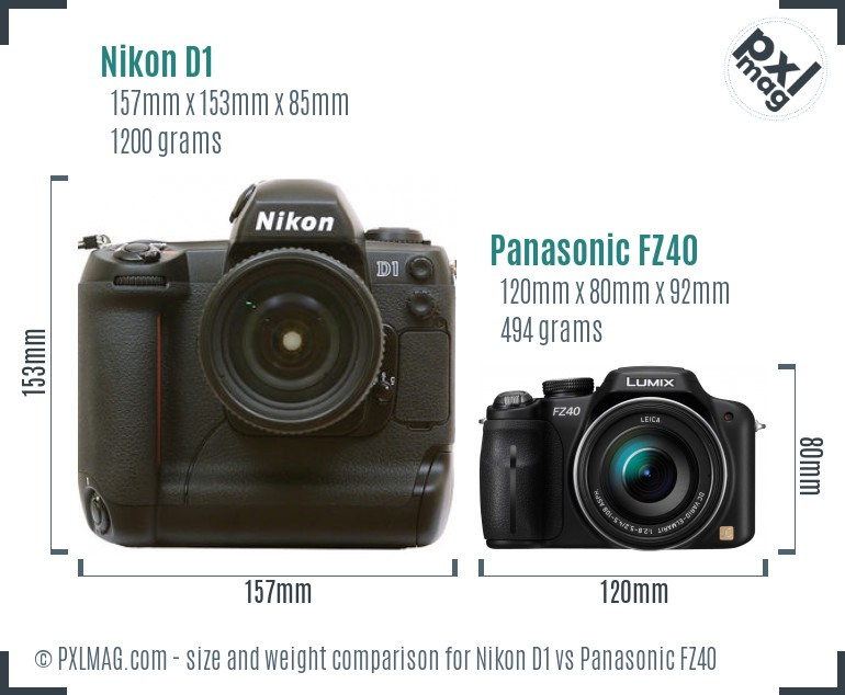 Nikon D1 vs Panasonic FZ40 size comparison