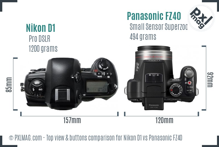 Nikon D1 vs Panasonic FZ40 top view buttons comparison
