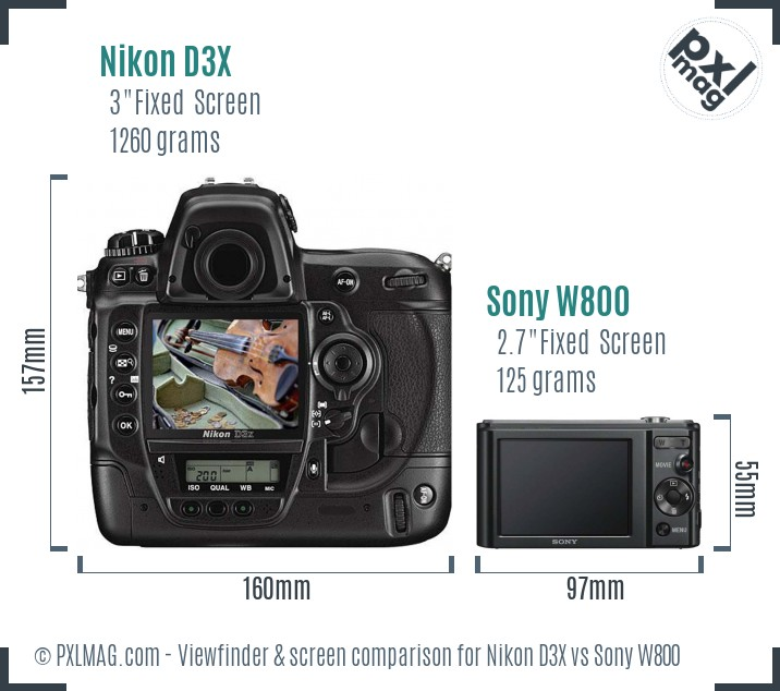 Nikon D3X vs Sony W800 Screen and Viewfinder comparison