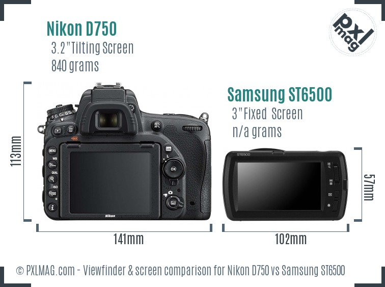 Nikon D750 vs Samsung ST6500 Screen and Viewfinder comparison