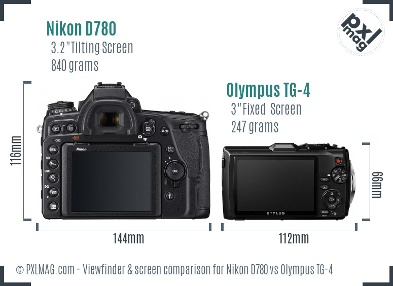 Nikon D780 vs Olympus TG-4 Screen and Viewfinder comparison