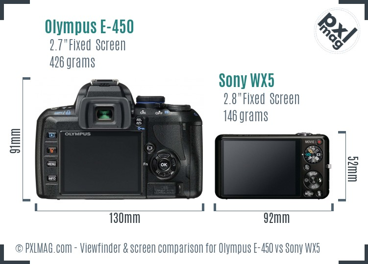 Olympus E-450 vs Sony WX5 Screen and Viewfinder comparison
