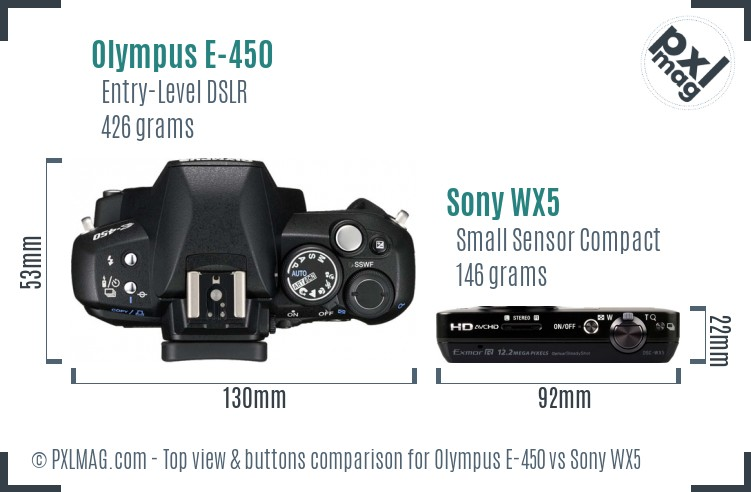 Olympus E-450 vs Sony WX5 top view buttons comparison