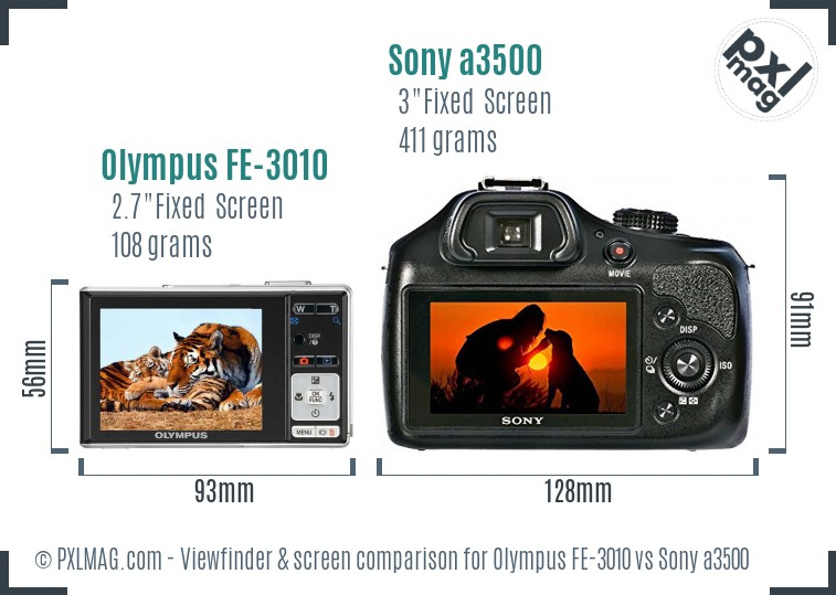 Olympus FE-3010 vs Sony a3500 Screen and Viewfinder comparison