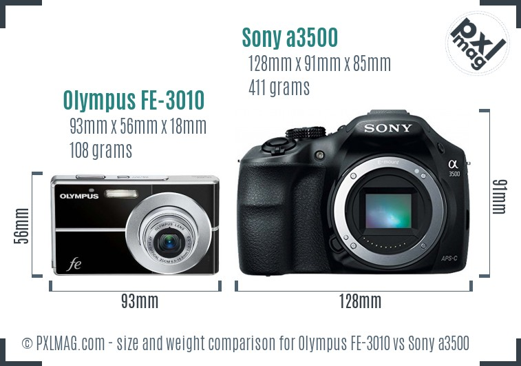 Olympus FE-3010 vs Sony a3500 size comparison