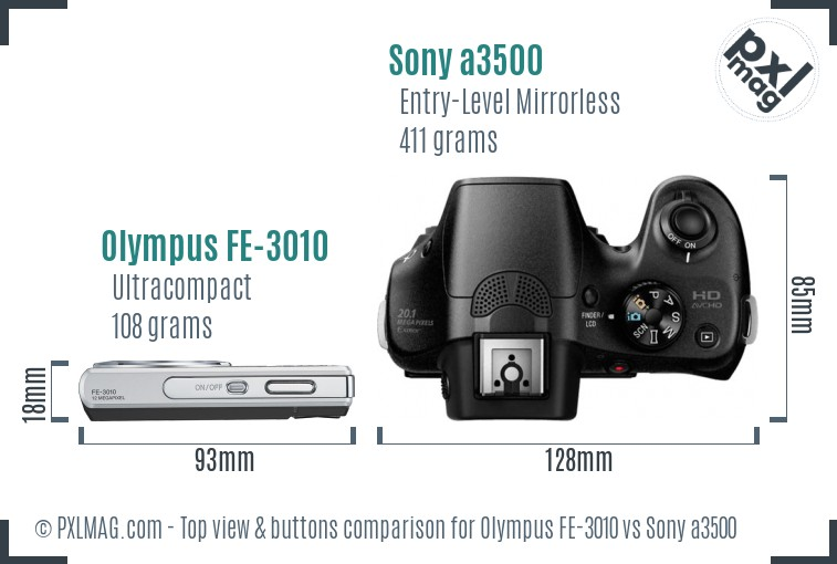 Olympus FE-3010 vs Sony a3500 top view buttons comparison