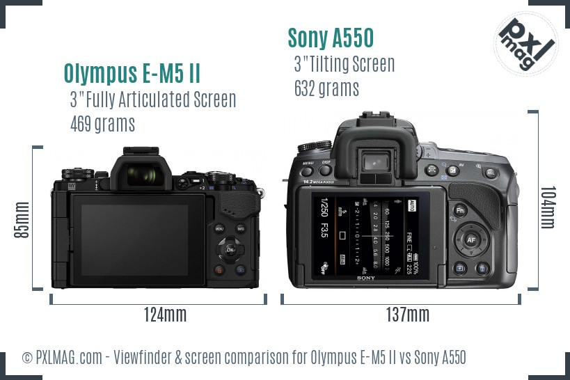 Olympus E-M5 II vs Sony A550 Screen and Viewfinder comparison