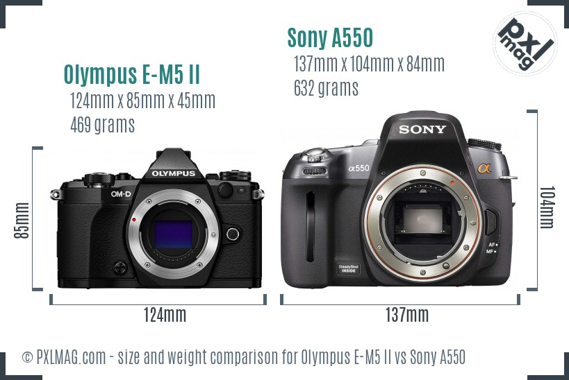 Olympus E-M5 II vs Sony A550 size comparison
