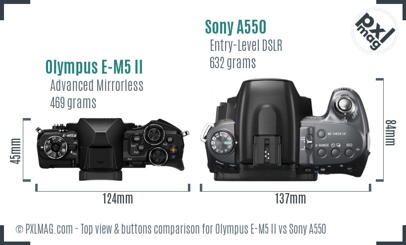 Olympus E-M5 II vs Sony A550 top view buttons comparison