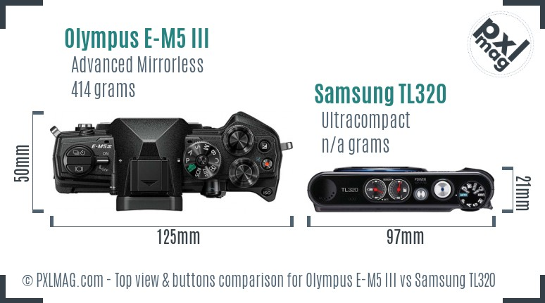 Olympus E-M5 III vs Samsung TL320 top view buttons comparison