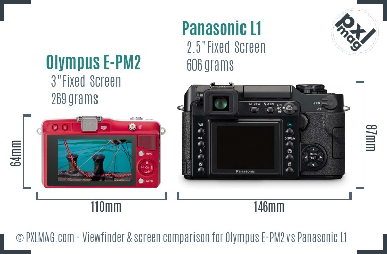 Olympus E-PM2 vs Panasonic L1 Screen and Viewfinder comparison
