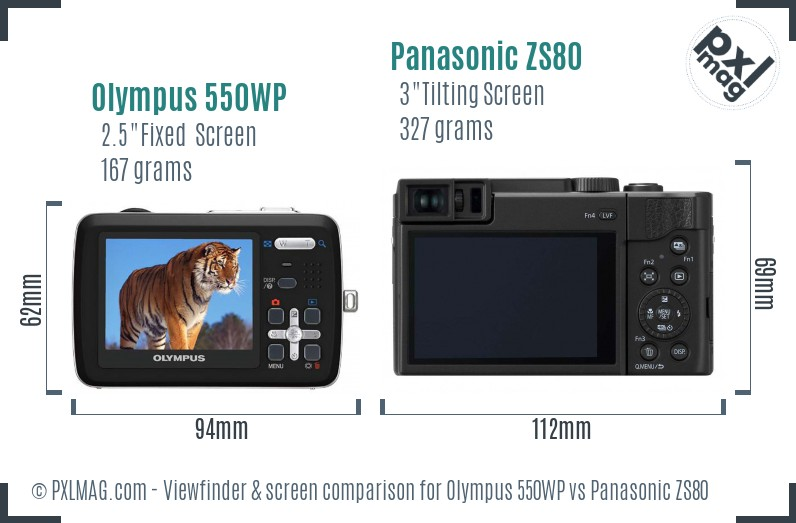 Olympus 550WP vs Panasonic ZS80 Screen and Viewfinder comparison