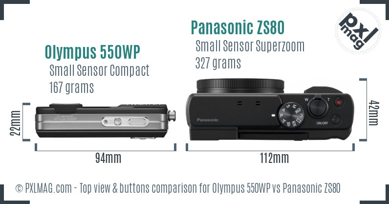 Olympus 550WP vs Panasonic ZS80 top view buttons comparison