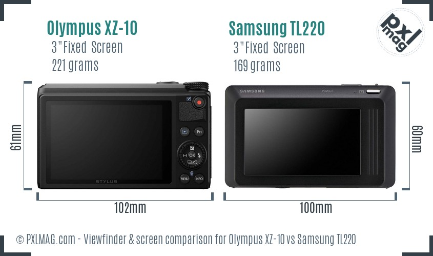 Olympus XZ-10 vs Samsung TL220 Screen and Viewfinder comparison