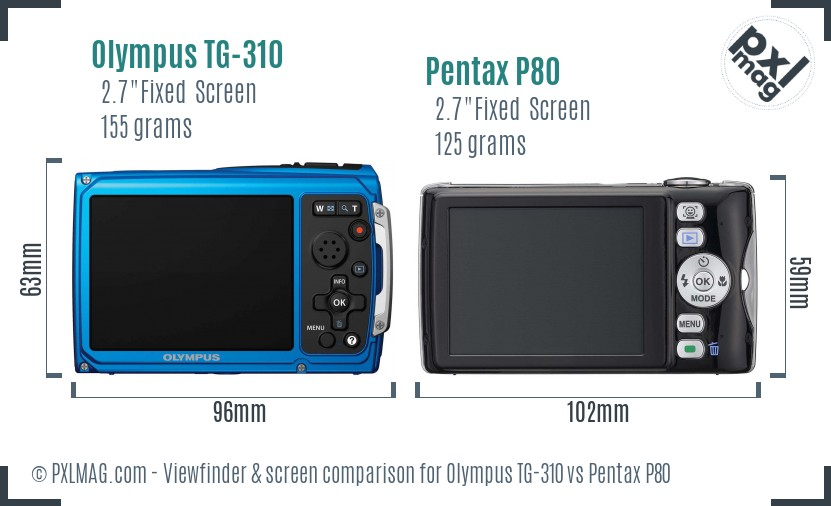 Olympus TG-310 vs Pentax P80 Screen and Viewfinder comparison