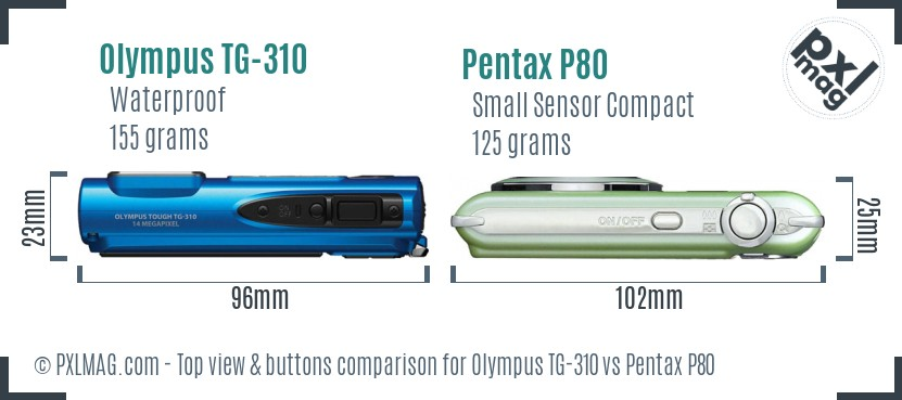 Olympus TG-310 vs Pentax P80 top view buttons comparison