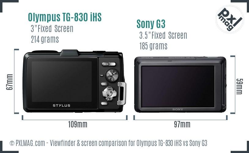 Olympus TG-830 iHS vs Sony G3 Screen and Viewfinder comparison