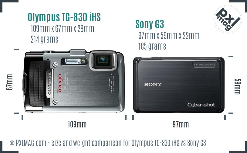 Olympus TG-830 iHS vs Sony G3 size comparison