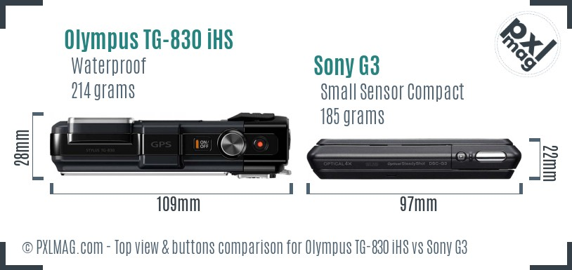 Olympus TG-830 iHS vs Sony G3 top view buttons comparison