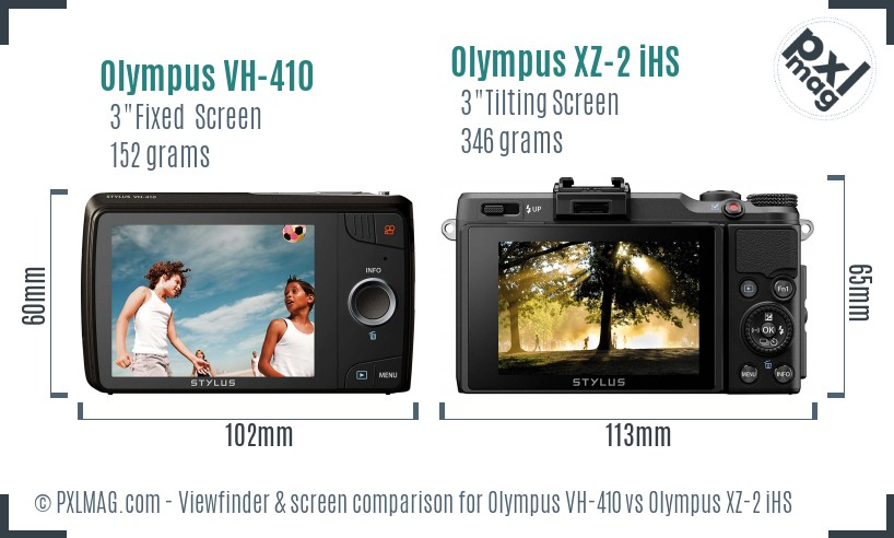 Olympus VH-410 vs Olympus XZ-2 iHS Screen and Viewfinder comparison