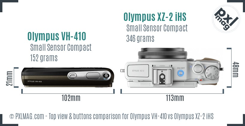 Olympus VH-410 vs Olympus XZ-2 iHS top view buttons comparison