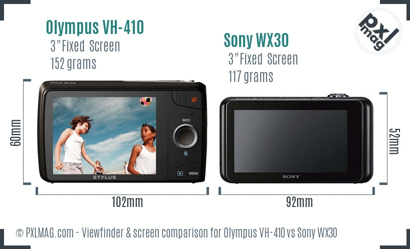 Olympus VH-410 vs Sony WX30 Screen and Viewfinder comparison