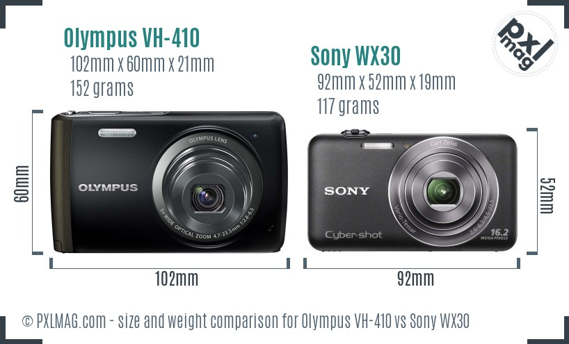 Olympus VH-410 vs Sony WX30 size comparison