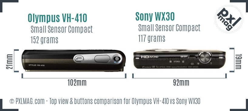 Olympus VH-410 vs Sony WX30 top view buttons comparison