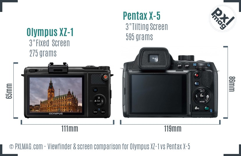 Olympus XZ-1 vs Pentax X-5 Screen and Viewfinder comparison