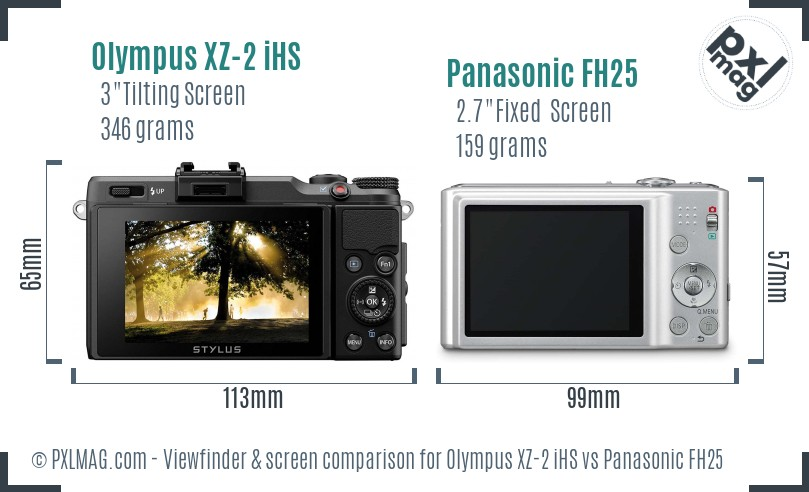 Olympus XZ-2 iHS vs Panasonic FH25 Screen and Viewfinder comparison