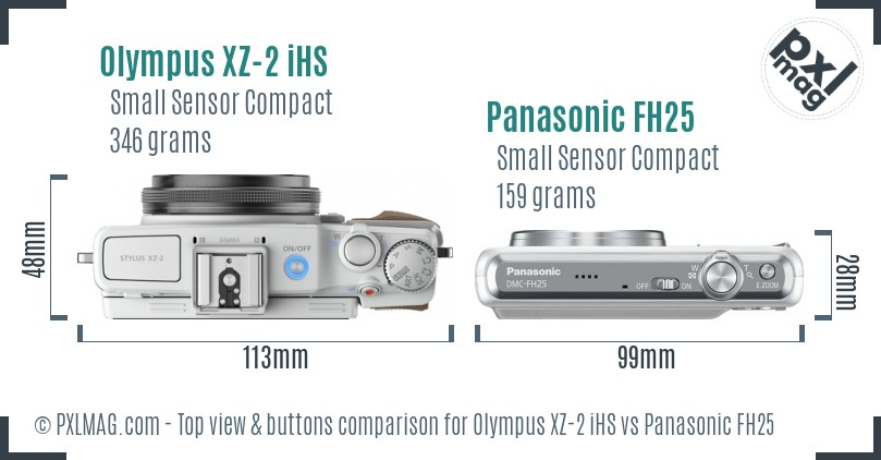 Olympus XZ-2 iHS vs Panasonic FH25 top view buttons comparison