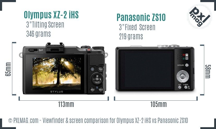 Olympus XZ-2 iHS vs Panasonic ZS10 Screen and Viewfinder comparison