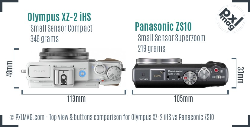 Olympus XZ-2 iHS vs Panasonic ZS10 top view buttons comparison